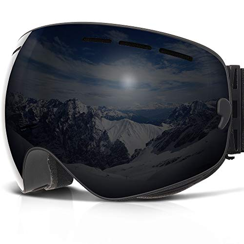 COPOZZ G1Ski-/Snowboardbrille, beschlagfrei, UV-Schutz, Helm-kompatibel, auswechselbare Gläser, Black Frame/Black lens (VLT 15.8%)