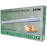 Pack 2x Lampara integrada Led 60cm. 20w. Color Blanco Neutro (4500K). 1800 lumenes. T8 LED. A++