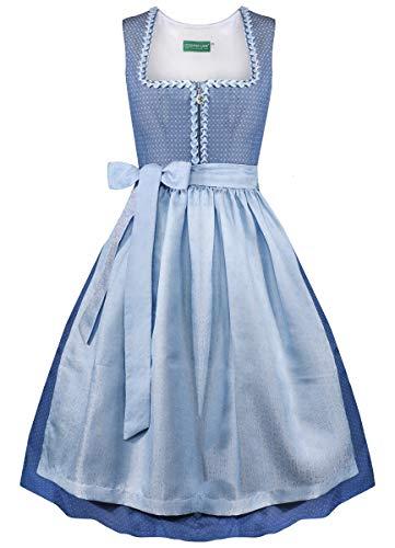 Country-Line Damen Trachten-Mode Midi Dirndl Ulrike in Blau, Größe:42, Farbe:Blau