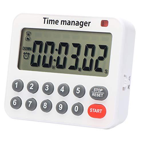 Digitaler Küchen-Timer, Countdown-Timer, 99H, 59M, 59S, Countup, Sound/Silence einstellbar, unterstützt & magnetisch, Auto-Off, Speicher zum Kochen, Backen, Sport, Spiele, Büro.