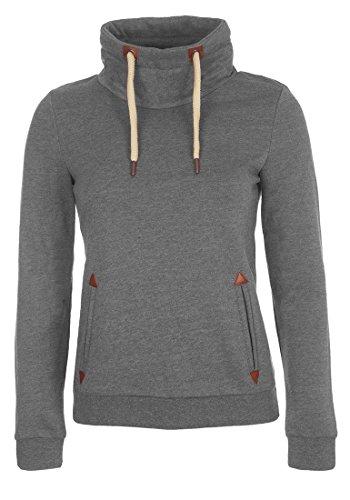 DESIRES Liki Tube Damen Sweatshirt Pullover Sweater Mit Stehkragen Und Fleece-Innenseite, Größe:S, Farbe:Grey Melange (8236)