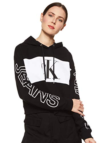 Calvin Klein Jeans Damen Blocking Statement Logo Hoodie Pullover, Ck Black/White/Ck Black, S