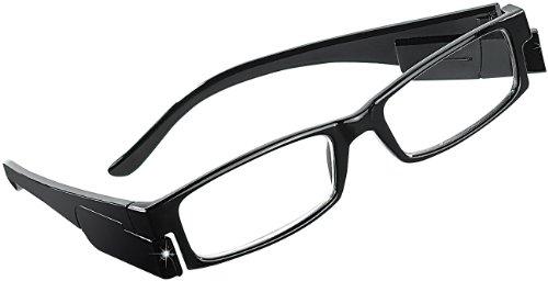 PEARL Beleuchtete Brille: Modische Lesehilfe, 0 dpt, mit LED-Leselicht (Leuchtbrille)