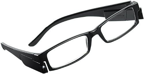 PEARL Beleuchtete Brille: Modische Lesehilfe, 0 dpt, mit LED-Leselicht (Lesebrille ohne Sehstärke)