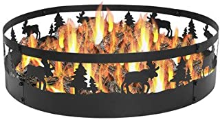 Sunnydaze Wild Moose Fire Pit - Large 36 Inch Outdoor Campfire Ring - Heavy Duty 0.91 Thick Metal - Wood Burning Firepit Ring Liner - High - for Camping or Backyard