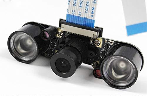 DIGISHUO Raspberry pi Camera Day/Night Vision Night Vision IR Surveillance Camera+2Pcs 3W Infrared Light for Raspberry Pi 4B/3B+/3B/2B