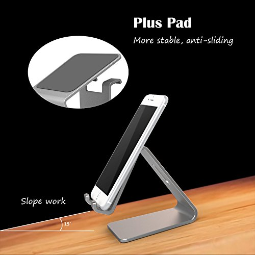 KAERSI K1 Desktop Tablet Stand: Charging Cradle, Display Dock for 4 to 13 inch All Smartphone, Tablets and E-Reader, iPhone, iPad - Gray
