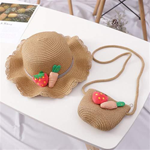 Kinderhut mit niedlichem Karottenstrohhut für Mädchen, Sonnenhut und Taschen,...