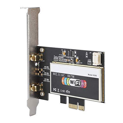 Fdit 867Mbps PCI Express netwerkkaart PCIe WiFi Dual LAN-kaart 2.4G / 5GHz 802.11ac PC Desktop Slot PCI x1 / X4 / X8 / X16 met Bluetooth 4.2 2 pcs externe antennes