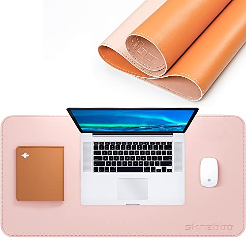 """Desk Pad, Upgrade Sewing PU Leather Desk Protector, Multifunctional Office Desk Pad, Laptop Desk Mat, Waterproof Desk Writing Mat Mouse Pad, Dual-Sided (31.5"""" x 15.7"""", Pink/Orange)"""