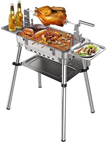 Xiaoyue Parrilla de carbón Barbacoa Barbacoa portátil Box - Caja de Acero Inoxidable Plegable Barbacoa Parrilla de Camping Kabab Grill for Parrilla al Aire Libre, Shish Kebab, Yakitori Grill lalay