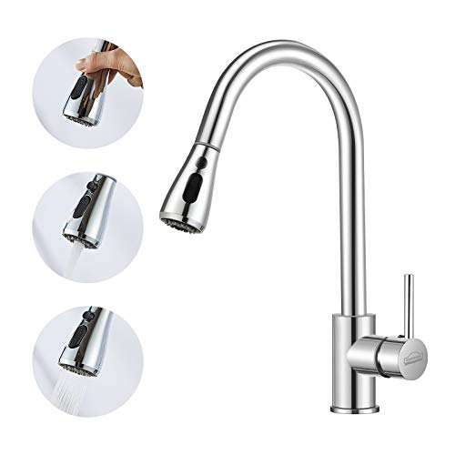 DEWINNER Kitchen Tap,Pull Down Sprayer Hot Cold Water Swivel, Sink Mixer Spout Faucet, Single Handle, Easy Fit, Stand UK Fitting, Solid Brass Chrome Finish,F006