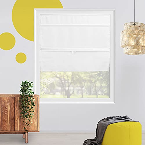 Roman Shades for Windows , Fabric Roman Shades for Doors , Real Simple Lift Cordless Roman Shades for Windows , Linen Roman Shade for Small and Big Window , 27 X 64 , Rodeo White by YELLOW BLINDS