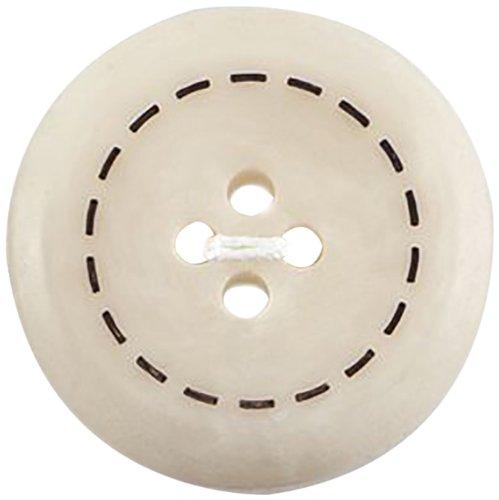Milward Lot de 2 boutons en polyester Crème 22,5 mm