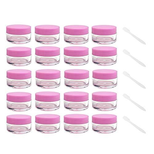 20 PCS Pots Cosmétiques Vide en Plastique Clair De Voyage pour Pot cosmétique baume à lèvres crème onguents Pots de Nail Art,Rose.10g / 10ml Petits Pots en Plastique Transparents,