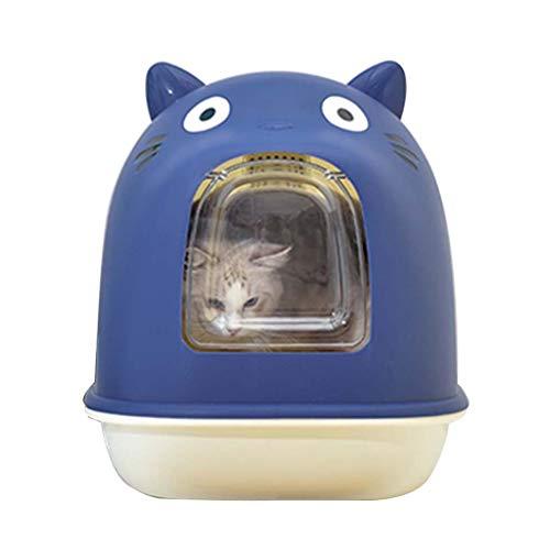 HSLINU Caja de Arena de Gato, Bandeja de la casa del Gatito de Mascotas, Completamente Cerrado en Azul, con Tapa para Evitar el Olor, Adecuado para Gatos de Diferentes Razas y tamaños