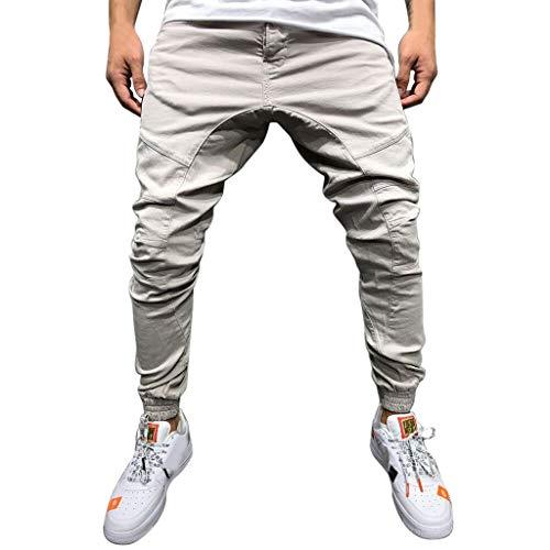 Xmiral Herrenhosen Neue Persönliche Reißverschluss-Tasche Elastisch Kleiner-Fuß Sports Einfarbig Hose(L,B Weiß)
