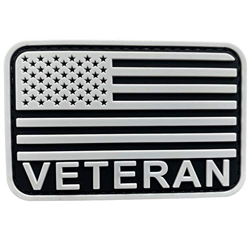 uuKen Veteran Patch 3x2 inch Black and White US Flag Patriotic Army Combat Retired Veteran Flag Patch for Tactical Hat Cap Vest Trooper Clothing Bags Backpacks Jackets (White, S3'x2')