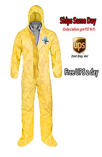 Two Pack - Medium - Lakeland Chemmax 1 Hazmat Suit for Industrial Safety with Hood and Boots Zipped Up Serge Seam (Two Suits)