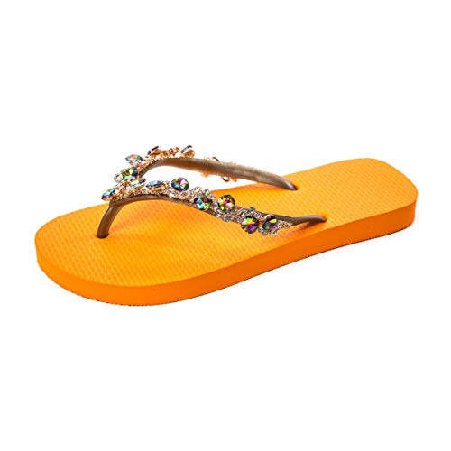 simone herrera Calypso orange | Kollektion 2020 | Zehentrenner | handgefertigt | Glassteine | exklusiv und einzigartig (orange, Numeric_37)