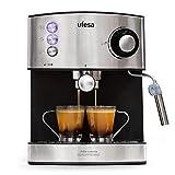 Ufesa CE7240 Cafetera Espresso, 850W, Depósito extraíble de 1,6 l, 20 Bares, Doble opción de preparación de café: Sist Cafetera, 2 Cups, Inox Sin Pantalla, 31.5 x 26 x 32 cm