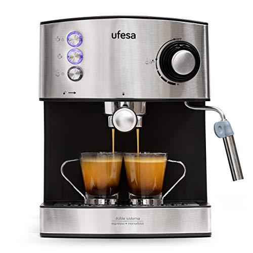 Ufesa CE7240-Cafetera Espresso, 850W, Depósito extraíble de 1,6 l, 20 Bares, Doble opción de preparación de café: Sist Cafetera, Acero Inoxidable, Negro/Plata