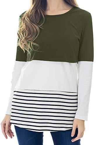 Smallshow Damen Langarm Pflege Bluse Spitzenborte Streifen Still-Shirt Army Green M