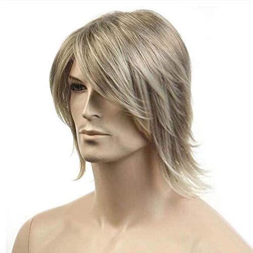 LLDKA Cordn Rubio Frente TIG TIG Natural Natural Hombre Completo Curl Wig Party TIG Pelucas