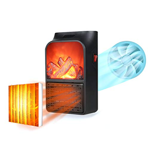 Draagbare vlamverwarming, elektrische kachel met kanteluitschakeling en oscillatie, 1000 W tafelmini-kachel met oververhittings- en kantelbeveiliging, weinig geluid, vlammeneffect, zwart, stopcontact
