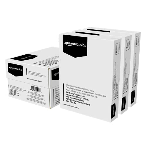 Amazon Basics 30% Recycled Multipurpose Copy Printer Paper - 8.5 x 11 Inches, 3 Ream Case (1500 Sheets)