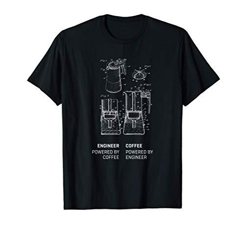 Engineer powered by Coffee lustiger Spruch Ingenieur Kaffee T-Shirt