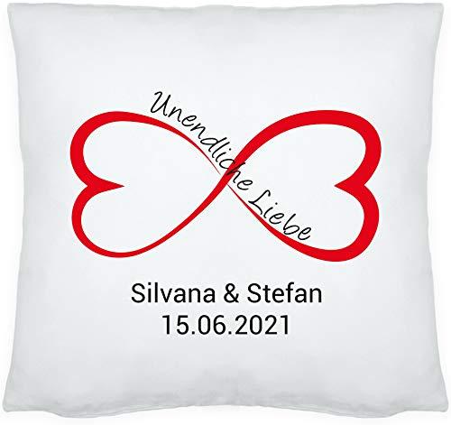 4you Design Kissen Unendliche Liebe mit Namen und Datum, Zierkissen, Geschenkidee, Valentinstagsgeschenk, Hochzeitsgeschenk, Geschenk für Verliebte