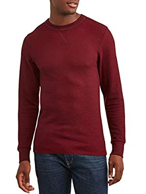Hanes Mens Thermal Raschel Crew Neck Long Sleeve Shirt, Tawny Port, Medium