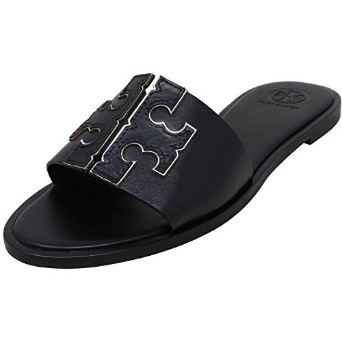 Tory Burch Women's Black Silver INES Leather Slides (7.5 M US)