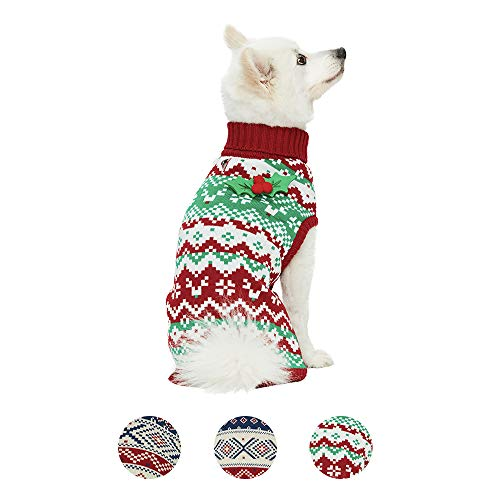 Blueberry Pet 2020 New Ugly Christmas Holiday Festive Turtleneck Reindeer Zigzag Chevron Winter Pullover Dog Sweater with Holly Décor, Back Length 14