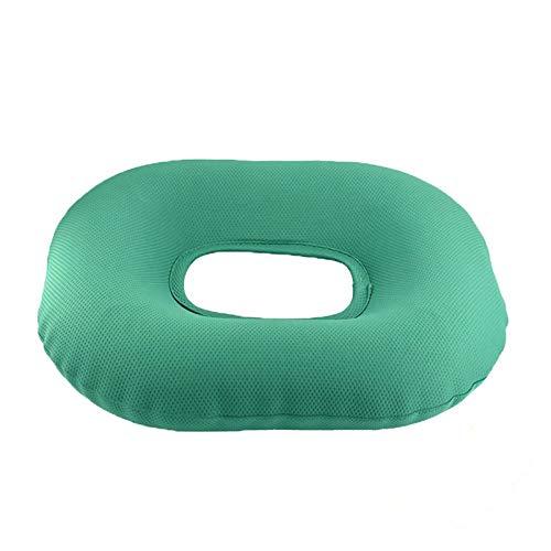 BaiJaC Cuscino Anti-decutito, Cuscino Rotondo per Sedia a rotelle, Cuscino Gonfiabile Anti-emorroidico per Anziani a Letto (Color : Green)