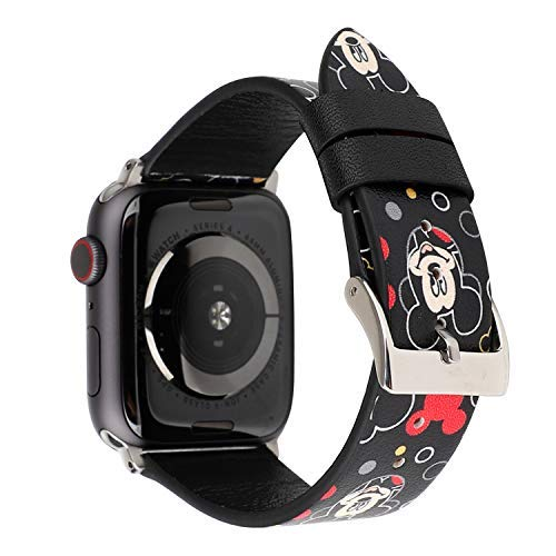 Lovely Style Watch Band Strap Cute Dressy Leather Wristband Bracelet Compatible with 40mm 38mm Apple Watch SE/Series 6/5/4/3/2/1 (Black)