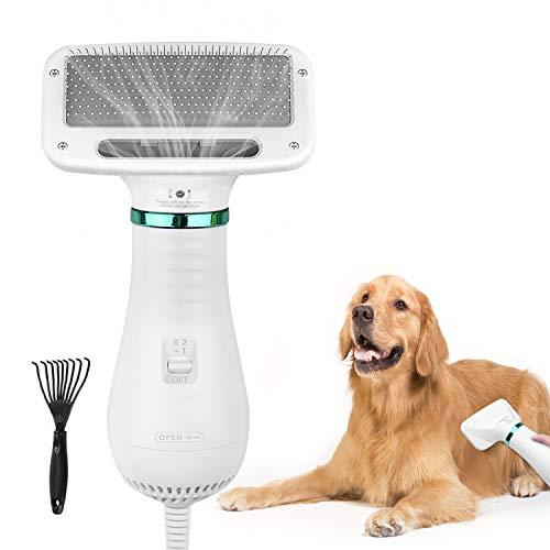 AUKUYEE Cepillo para Perros y Gatos, Portátil y Silencioso 2 En 1 Eléctrica Secador De Pelo Peine Perros Gatos Grooming Cepillo Peine Y Secadora Accesorios Protege el Cabello, Temperatura Ajustable
