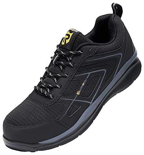LARNMERN PLUS Zapatos de Seguridad Hombre Mujer Zapatillas de Seguridad con Puntera de Acero Anti-punción Ligeras Transpirable Zapatos de Trabajo Antideslizante Calzado Seguridad Negro Talla 47EU
