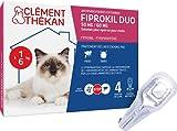 Clément Thékan - FIPROKIL DUO 50 mg/60 mg solution pour spot-on pour Chats - Pipettes Anti-Puces et Anti-Tiques pour Chats - 1 à 6 kg - 4 pipettes