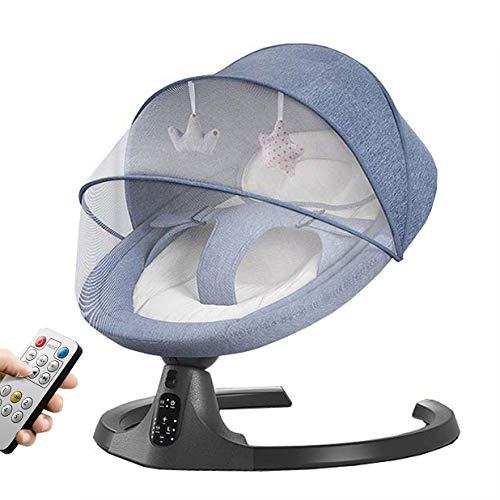 Utron Mecedora Inteligente eléctrica Rocker Baby con mosquitera Swing de 5 velocidades Silencioso Bluetoot Música Silla para bebé para recién Nacidos de 0-24 Meses,Blue
