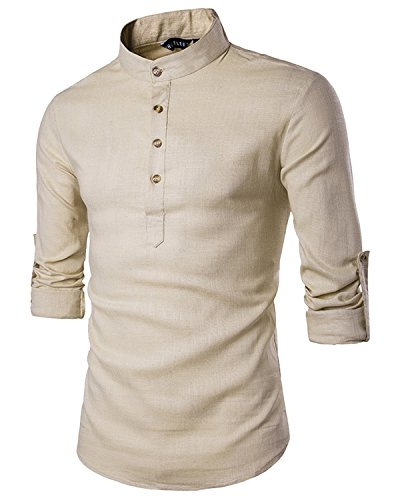JoJoJoy Men's Casual Sexy Henley Neck Linen Roll-up Long Sleeve Work Shirts...