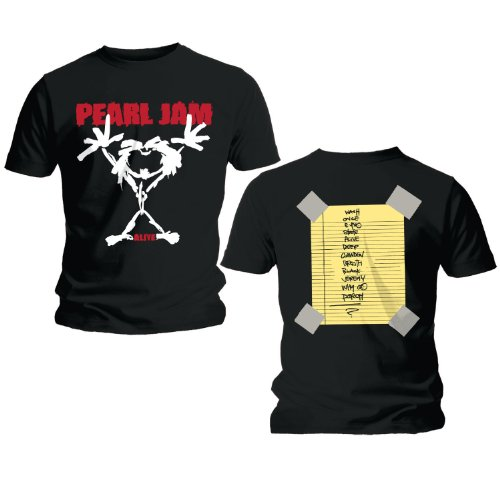 Pearl Jam 'Stickman' Men's 2-Sided T-Shirt, Black (Large)