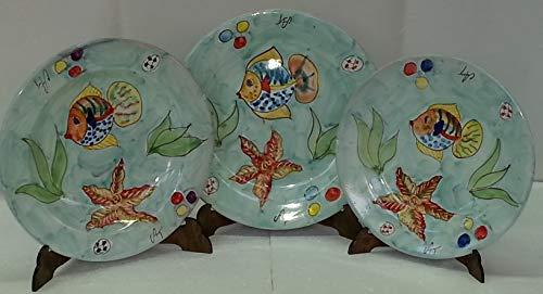 Servizio di piatti per 6 persone in ceramica di Vietri Decoro ISCHIA