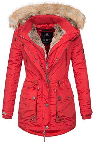 Marikoo Damen Winterjacke Kapuze Kunstfell Winter Jacke warm lang B617 [B617-Grinse-Rot-Gr.M]