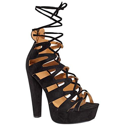 Fashion Thirsty Neu Womens Damen High Heels Plattform Gladiator Sandalen Schnür Stiefel Schuh Größe - Schwarz Kunstwildleder, 41