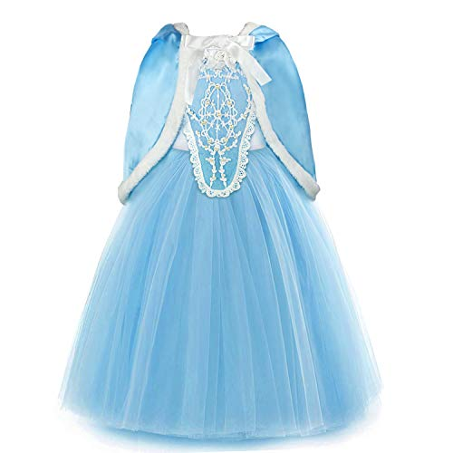 discoball Mädchen ELSA Kleid Eiskönigin Cinderella Prinzessin Kostüm mit Umhang für Karneval Weihnachten Halloween Cosplay Party (Blau, 3-4 Jahre)