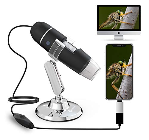 Kailiwei USB Microscope 40x to1000x Magnification Endoscope Skin Test Mini Camera with OTG Adapter and Metal Stand, Compatible with Mac Window Android Linux
