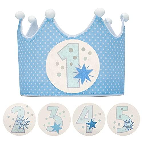 Kembilove Corona Cumpleaños – Corona Primer Cumpleaños niño – Fiesta de cumpleaños Smash Cake de 1-5 Años Intercambiables Lunares Azul – Regalos Personalizados