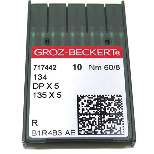 Groz-Beckert - Agujas para máquina de coser industrial (134R, 135 x 5, DPX5, 10 unidades, todos los tamaños